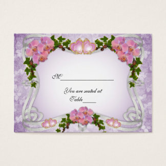 Guest seating cards pink orchids