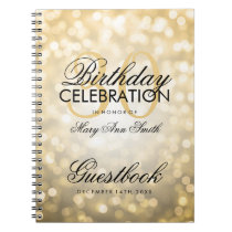 Guestbook 30th Birthday Party Gold Glitter Light Notebook