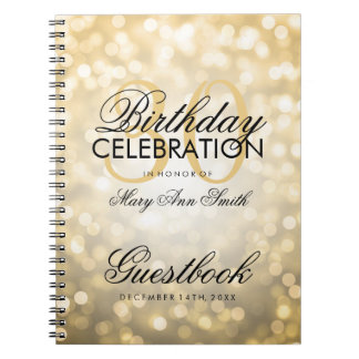 Guestbook 30th Birthday Party Gold Glitter Light Spiral Notebook