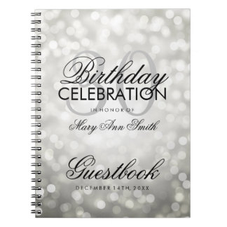 Guestbook 30th Birthday Party Silver Glitter Light Notebook