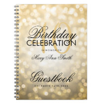 Guestbook 40th Birthday Party Gold Glitter Light Notebook