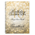 Guestbook 40th Birthday Party Gold Glitter Light Spiral Notebook
