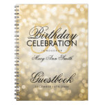Guestbook 50th Birthday Party Gold Glitter Light Spiral Note Books