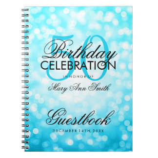 Guestbook 50th Birthday Turquoise Glitter Light Note Books