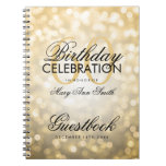 Guestbook 60th Birthday Party Gold Glitter Light Note Books