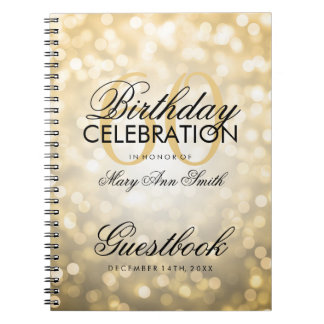 Guestbook 60th Birthday Party Gold Glitter Light Spiral Notebook