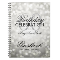 Guestbook 60th Birthday Party Silver Glitter Light Notebook