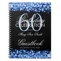 Guestbook 60th Birthday Party Sparkles Blue Notebook