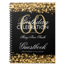 Guestbook 60th Birthday Party Sparkles Gold Spiral Note Book