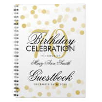 Guestbook 70th Birthday Gold Foil Glitter Lights Notebook