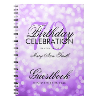 Guestbook 70th Birthday Party Purple Glitter Light Notebook