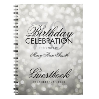 Guestbook 70th Birthday Party Silver Glitter Light Notebook