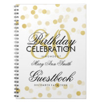 Guestbook 80th Birthday Gold Foil Glitter Lights Spiral Notebook
