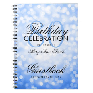 Guestbook 80th Birthday Party Blue Glitter Light Notebook