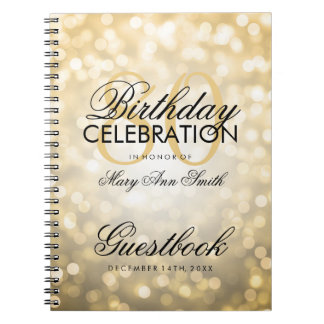 Guestbook 80th Birthday Party Gold Glitter Light Notebook