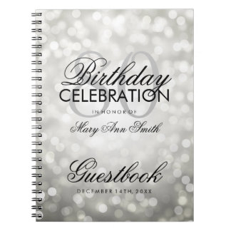 Guestbook 80th Birthday Party Silver Glitter Light Notebook