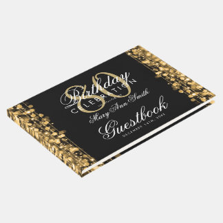 Guestbook 80th Birthday Party Sparkles Gold