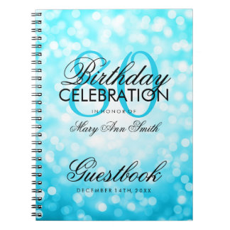 Guestbook 80th Birthday Turquoise Glitter Light Notebook