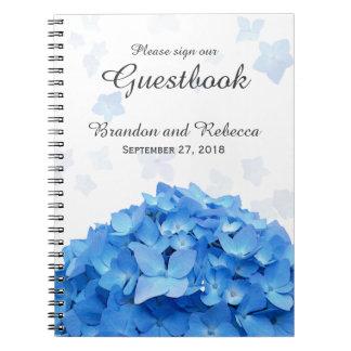 Guestbook azul del boda del Hydrangea Libreta Espiral