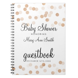 Guestbook Baby Shower Copper Foil Glitter Lights Notebook