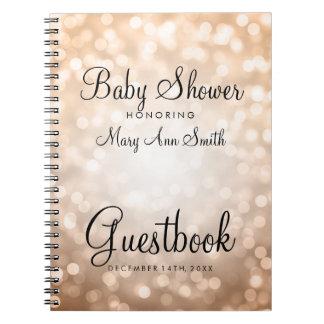 Guestbook Baby Shower Copper Glitter Lights Notebook