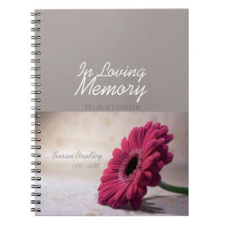 Guestbook conmemorativo fúnebre floral de la libro de apuntes