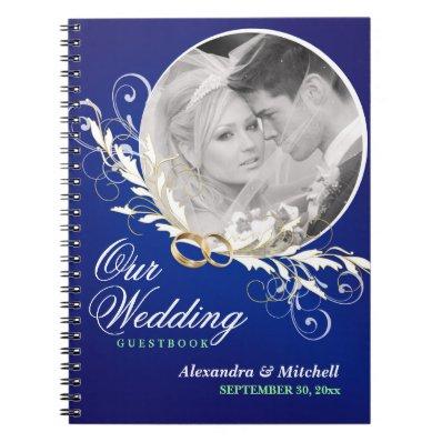 Guestbook Custom Wedding Photo - Sapphire Blue Spiral Notebook