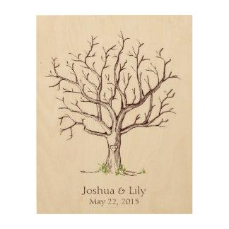 Guestbook del árbol de la huella dactilar del boda cuadros de madera