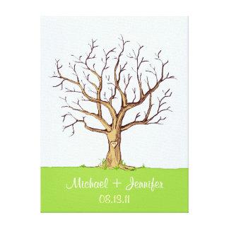 Guestbook del árbol de la huella dactilar del boda impresiones de lienzo