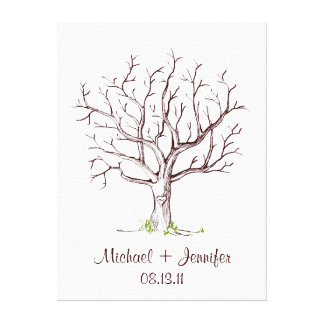 Guestbook del árbol de la huella dactilar del boda lona envuelta para galerías