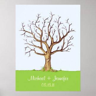 Guestbook del árbol de la huella dactilar del boda impresiones