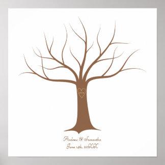 Guestbook del boda del árbol de la huella dactilar impresiones