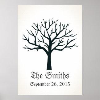Guestbook del boda del árbol de la huella dactilar posters