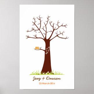 Guestbook del boda del árbol de la huella dactilar poster
