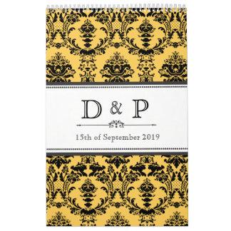 Guestbook del boda del monograma del damasco del a calendarios de pared