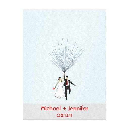 Guestbook del globo de la huella dactilar del boda impresión en lona