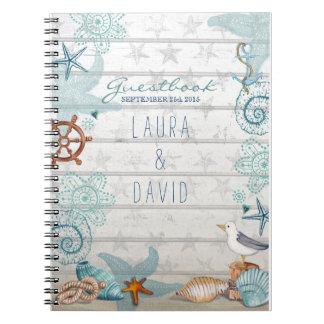 Guestbook náutico del boda de playa libro de apuntes