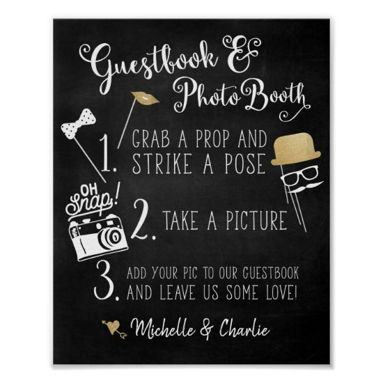 Guestbook Photo Booth Chalkboard Sign