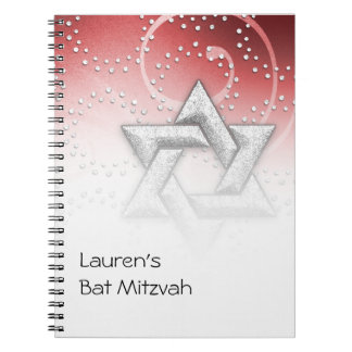 Guestbook Red Shimmer Star of David Notebook