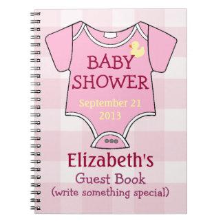 Guestbook rosado de la fiesta de bienvenida al beb cuaderno