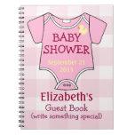 Guestbook rosado de la fiesta de bienvenida al beb cuadernos