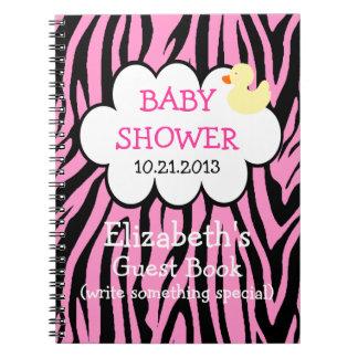 Guestbook rosado de la fiesta de bienvenida al beb libretas espirales