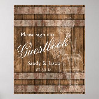 Guestbook rústico de madera del granero del país póster