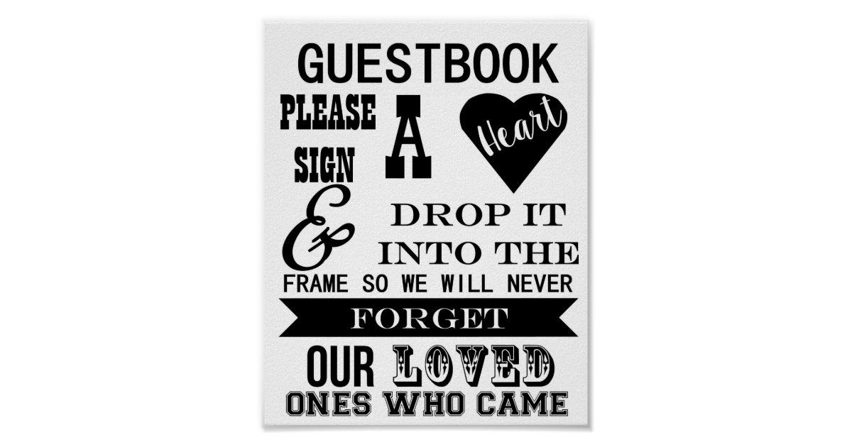 Guestbook Sign Please Sign A Heart Wedding Table Zazzle Com