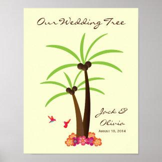 Guestbook tropical de Thumbprint de la palmera del Poster