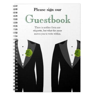 Guestbook verde del clavel para las huéspedes gay libros de apuntes con espiral