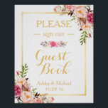 "Guestbook Wedding Sign | Elegant Chic Floral Gold<br><div class=""desc"">================= ABOUT THIS DESIGN ================= Guestbook Wedding Sign 