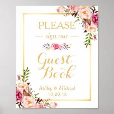 CardHunter Guestbook Wedding Sign | Elegant Chic Floral Gold