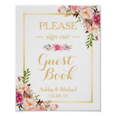 Guestbook Wedding Sign | Elegant Chic Floral Gold Poster at Zazzle