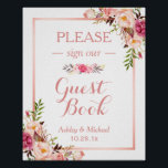 "Guestbook Wedding Sign | Trendy Rose Gold Floral<br><div class=""desc"">================= ABOUT THIS DESIGN ================= Guestbook Wedding Sign 